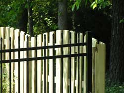 Black Aluminum, Wrought Iron,  with Wood Arch Fences