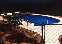 swimming pool  chain link fence, black vinyl coated